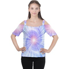 Creation Light Blue White Neon Sun Women s Cutout Shoulder Tee by Mariart
