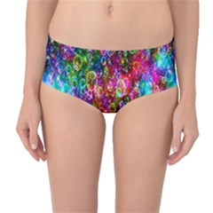 Colorful Bubble Shining Soap Rainbow Mid-waist Bikini Bottoms by Mariart