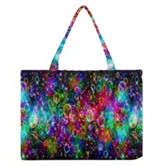 Colorful Bubble Shining Soap Rainbow Medium Zipper Tote Bag by Mariart