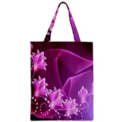 Lotus Sunflower Sakura Flower Floral Pink Purple Polka Leaf Polkadot Waves Wave Chevron Zipper Classic Tote Bag by Mariart