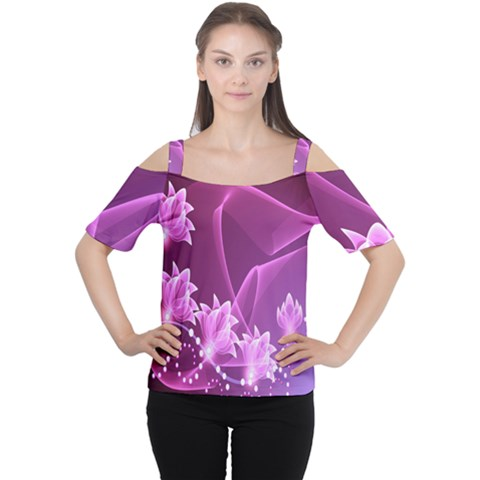 Lotus Sunflower Sakura Flower Floral Pink Purple Polka Leaf Polkadot Waves Wave Chevron Women s Cutout Shoulder Tee by Mariart