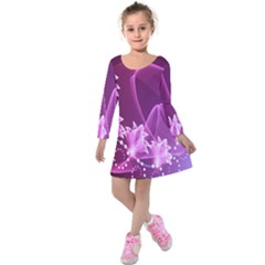 Lotus Sunflower Sakura Flower Floral Pink Purple Polka Leaf Polkadot Waves Wave Chevron Kids  Long Sleeve Velvet Dress by Mariart