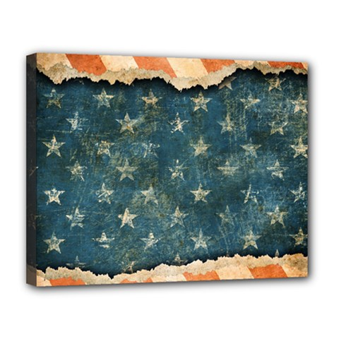 Grunge Ripped Paper Usa Flag Canvas 14  X 11  by Mariart