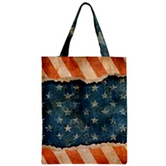 Grunge Ripped Paper Usa Flag Zipper Classic Tote Bag by Mariart