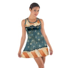 Grunge Ripped Paper Usa Flag Cotton Racerback Dress by Mariart