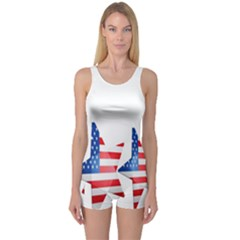 Multiple Us Flag Stars Line Slide One Piece Boyleg Swimsuit by Mariart