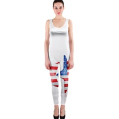 Multiple Us Flag Stars Line Slide Onepiece Catsuit