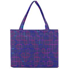 Grid Lines Square Pink Cyan Purple Blue Squares Lines Plaid Mini Tote Bag by Mariart