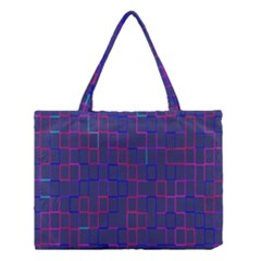 Grid Lines Square Pink Cyan Purple Blue Squares Lines Plaid Medium Tote Bag by Mariart