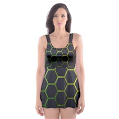 Hexagons Honeycomb Skater Dress Swimsuit by Mariart