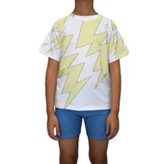 Lightning Yellow Kids  Short Sleeve Swimwear by Mariart