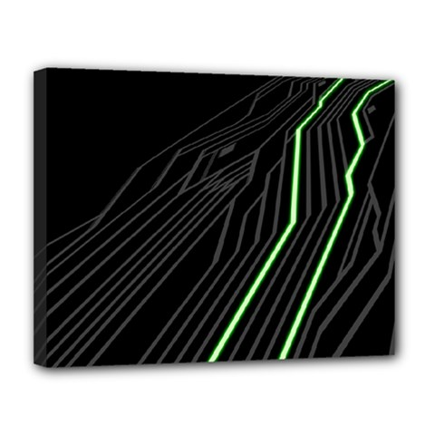 Green Lines Black Anime Arrival Night Light Canvas 14  X 11  by Mariart