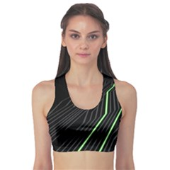 Green Lines Black Anime Arrival Night Light Sports Bra by Mariart