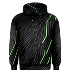Green Lines Black Anime Arrival Night Light Men s Pullover Hoodie by Mariart