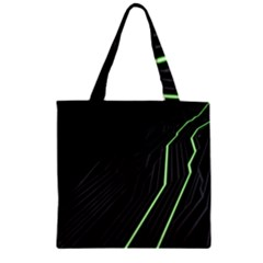Green Lines Black Anime Arrival Night Light Zipper Grocery Tote Bag by Mariart