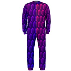 Hexagon Widescreen Purple Pink Onepiece Jumpsuit (men)  by Mariart