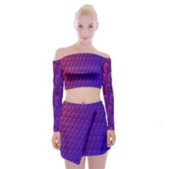 Hexagon Widescreen Purple Pink Off Shoulder Top With Skirt Set