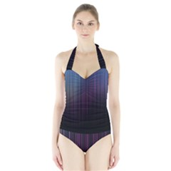 Moonlight Light Line Vertical Blue Black Halter Swimsuit by Mariart