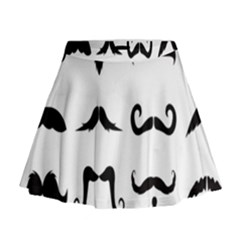 Mustache Man Black Hair Style Mini Flare Skirt by Mariart