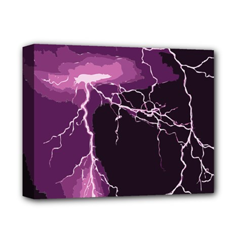 Lightning Pink Sky Rain Purple Light Deluxe Canvas 14  X 11  by Mariart