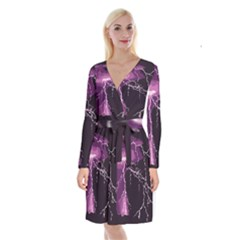 Lightning Pink Sky Rain Purple Light Long Sleeve Velvet Front Wrap Dress
