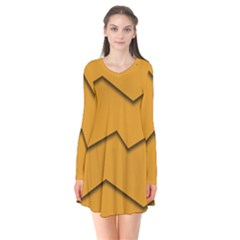 Orange Shades Wave Chevron Line Flare Dress