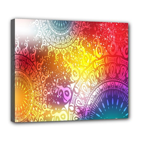Multi Colour Alpha Deluxe Canvas 24  X 20   by Mariart
