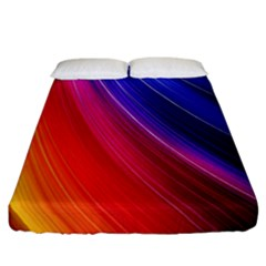 Multicolor Light Beam Line Rainbow Red Blue Orange Gold Purple Pink Fitted Sheet (california King Size)