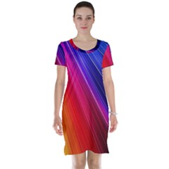 Multicolor Light Beam Line Rainbow Red Blue Orange Gold Purple Pink Short Sleeve Nightdress by Mariart