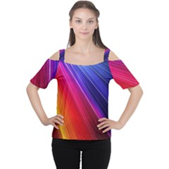 Multicolor Light Beam Line Rainbow Red Blue Orange Gold Purple Pink Women s Cutout Shoulder Tee by Mariart