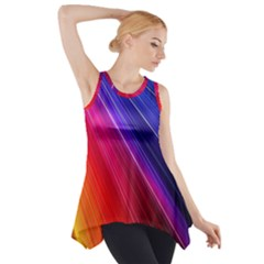 Multicolor Light Beam Line Rainbow Red Blue Orange Gold Purple Pink Side Drop Tank Tunic by Mariart
