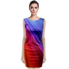 Multicolor Light Beam Line Rainbow Red Blue Orange Gold Purple Pink Classic Sleeveless Midi Dress by Mariart