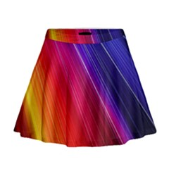 Multicolor Light Beam Line Rainbow Red Blue Orange Gold Purple Pink Mini Flare Skirt by Mariart