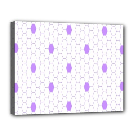 Purple White Hexagon Dots Canvas 14  X 11  by Mariart