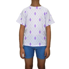 Purple White Hexagon Dots Kids  Short Sleeve Swimwear by Mariart