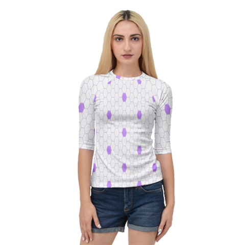 Purple White Hexagon Dots Quarter Sleeve Tee by Mariart