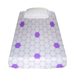 Purple White Hexagon Dots Fitted Sheet (single Size) by Mariart