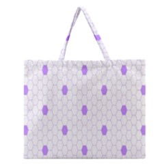 Purple White Hexagon Dots Zipper Large Tote Bag by Mariart