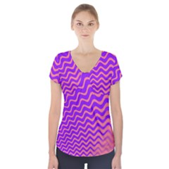 Original Resolution Wave Waves Chevron Pink Purple Short Sleeve Front Detail Top by Mariart