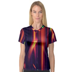 Perfection Graphic Colorful Lines Women s V Neck Sport Mesh Tee by Mariart