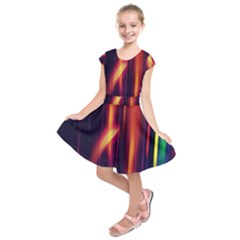 Perfection Graphic Colorful Lines Kids  Short Sleeve Dress