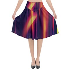 Perfection Graphic Colorful Lines Flared Midi Skirt