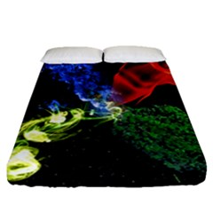 Perfect Amoled Screens Fire Water Leaf Sun Fitted Sheet (queen Size)