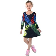 Perfect Amoled Screens Fire Water Leaf Sun Kids  Long Sleeve Velvet Dress by Mariart