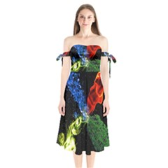 Perfect Amoled Screens Fire Water Leaf Sun Shoulder Tie Bardot Midi Dress by Mariart