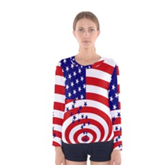 Star Line Hole Red Blue Women s Long Sleeve Tee by Mariart