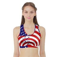 Star Line Hole Red Blue Sports Bra With Border by Mariart