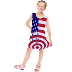 Star Line Hole Red Blue Kids  Tunic Dress by Mariart