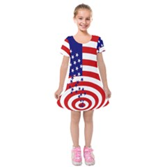 Star Line Hole Red Blue Kids  Short Sleeve Velvet Dress by Mariart