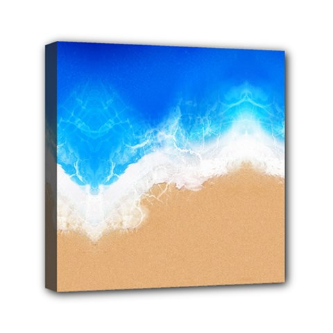 Sand Beach Water Sea Blue Brown Waves Wave Mini Canvas 6  X 6  by Mariart